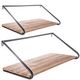 Industrial Wood Wall Shelf Set